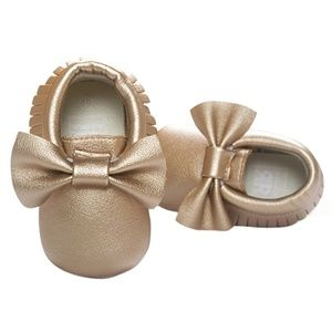 Other - Light Gold with Bow Baby Moccasins - Vegan Leather